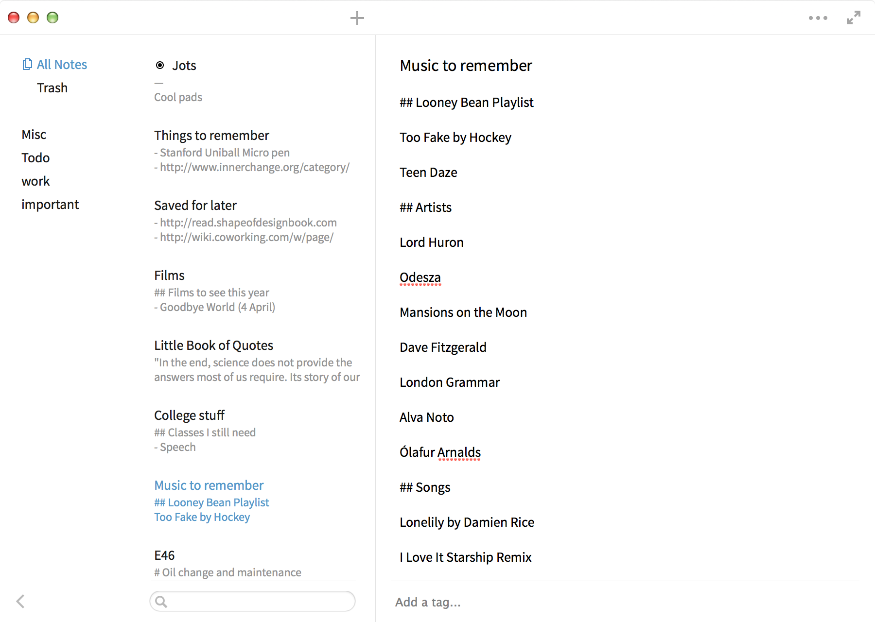 Simplenote Mac app