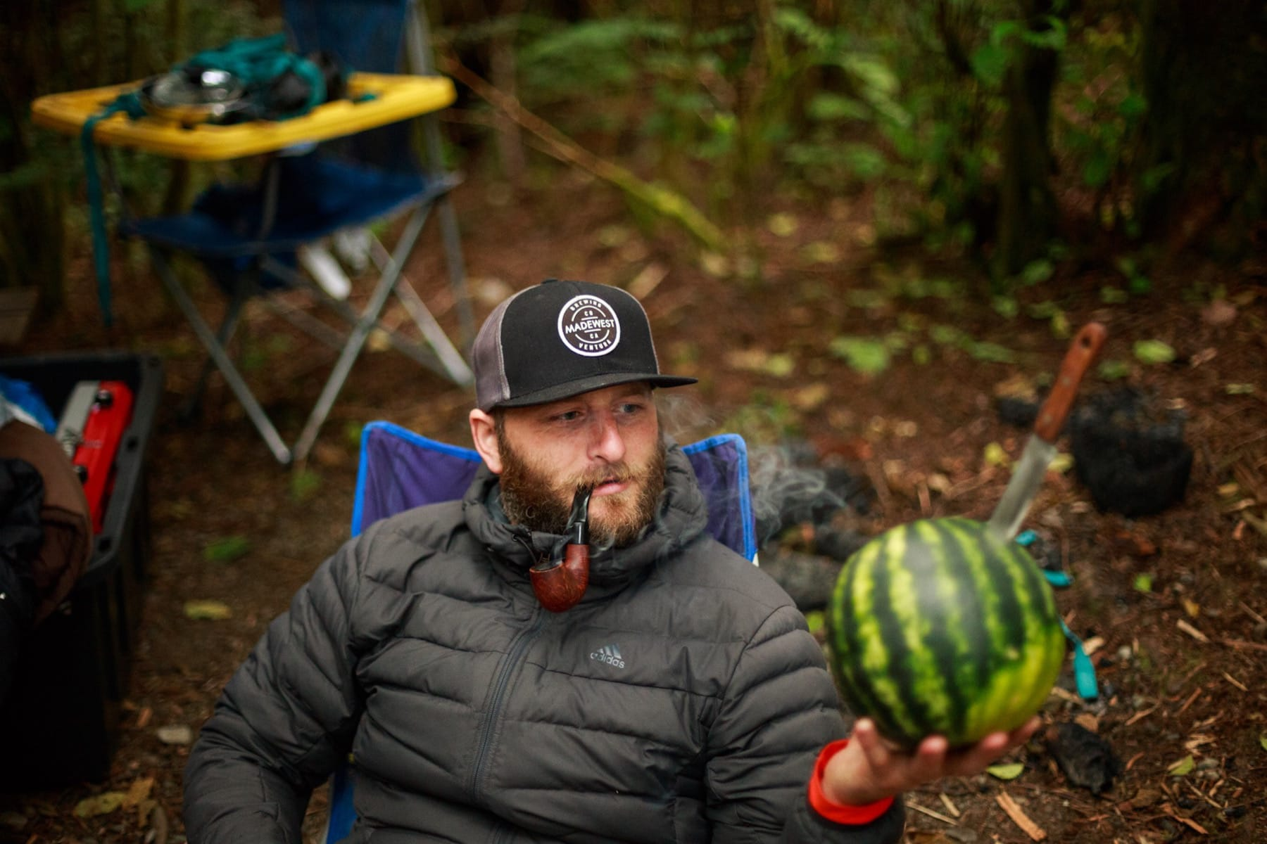 Camp life with a watermelon